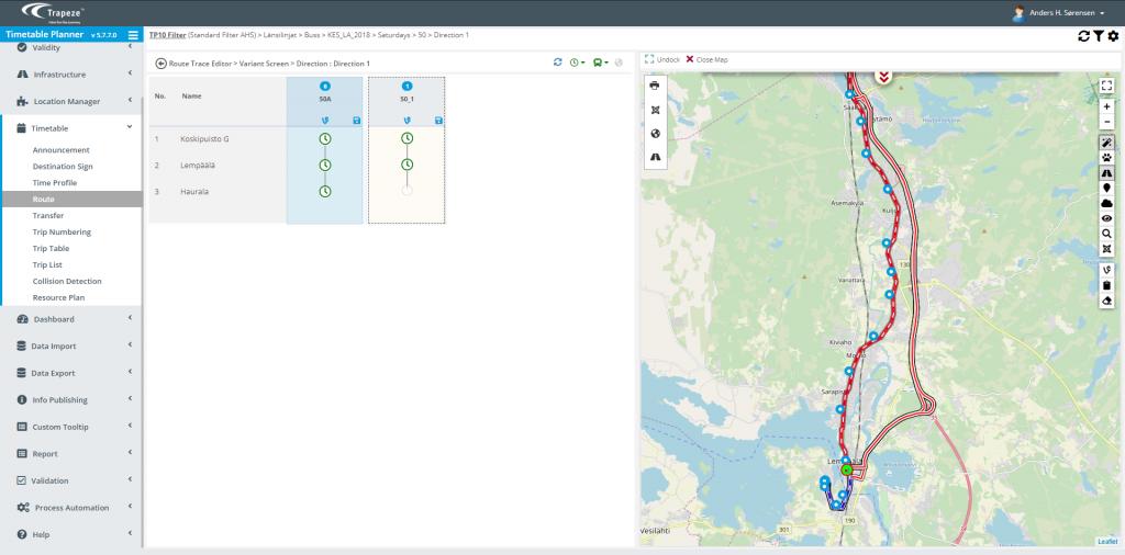 TimeTable Planner  bruger GIS integreret køreplanlægning